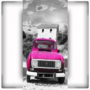 rózowy samochód