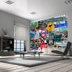 Aranżacja nowoczesnego salonu z fototapetą kierunkowskazy