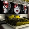 Fototapeta do stylowej retro sypialni - trzy weneckie maski