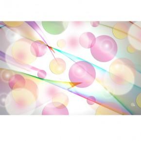 z różową abstrakcją tęczowe kółka