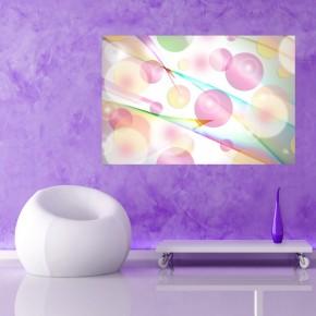 Fototapeta z różową abstrakcją tęczowe kółka