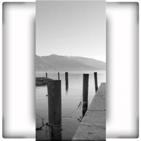Fototapeta przystań - czarno biała