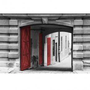 Fototapeta czerwone drzwi w starej bramie
