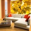 Wizualizacja na ścianie dekoracji z jesiennimi liśćmi