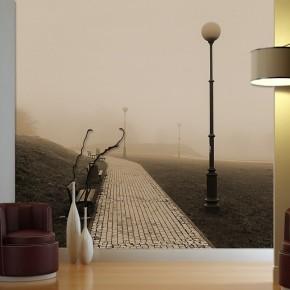 Fototapeta latarnia ławka we mgle