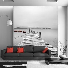Fototapeta Drewniany pomost z akcentami czerwonym